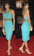Eva-longoria-new-bangs-turquoise-dress